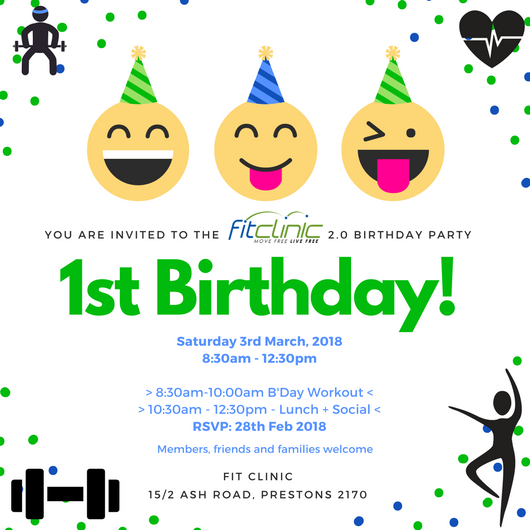 Our 1st Birthday Party, Coming Up at Fit Clinic (v2.0)